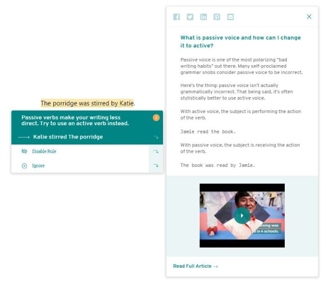 The ProWritingAid Pop-Up Showing an Educational Video about Passive Voice