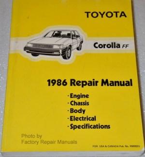 1986 Toyota Corolla FWD Factory Service Manual Original