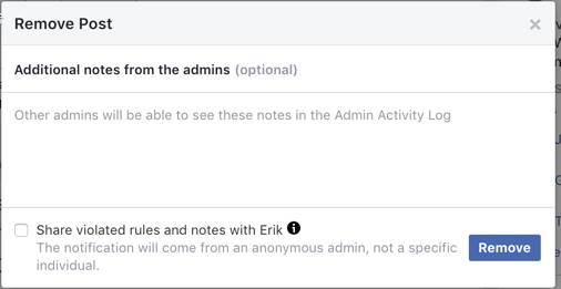 FB group rule broken - admins can now explain why removed comment 1