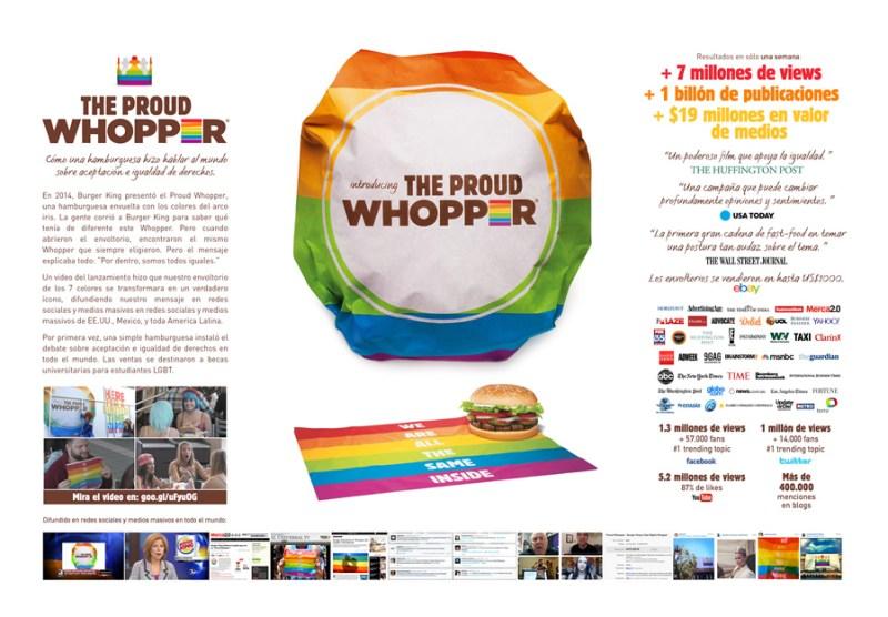 ORO Proud whopper, de DAVID para ProudWhopper, de Burger King USA. Estados Unidos (Hispano)