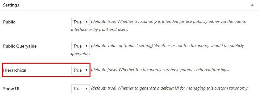 Cài đặt các thuộc tính của taxonomy