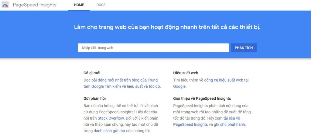 Giao diện PageSpeed Insights