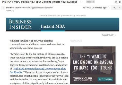 Business Insider Newsletter with Trunk Club Ad