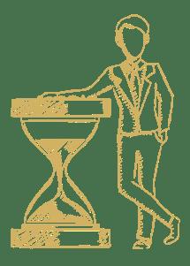 sketch of man next to hour glass for writing SMART marketing goals