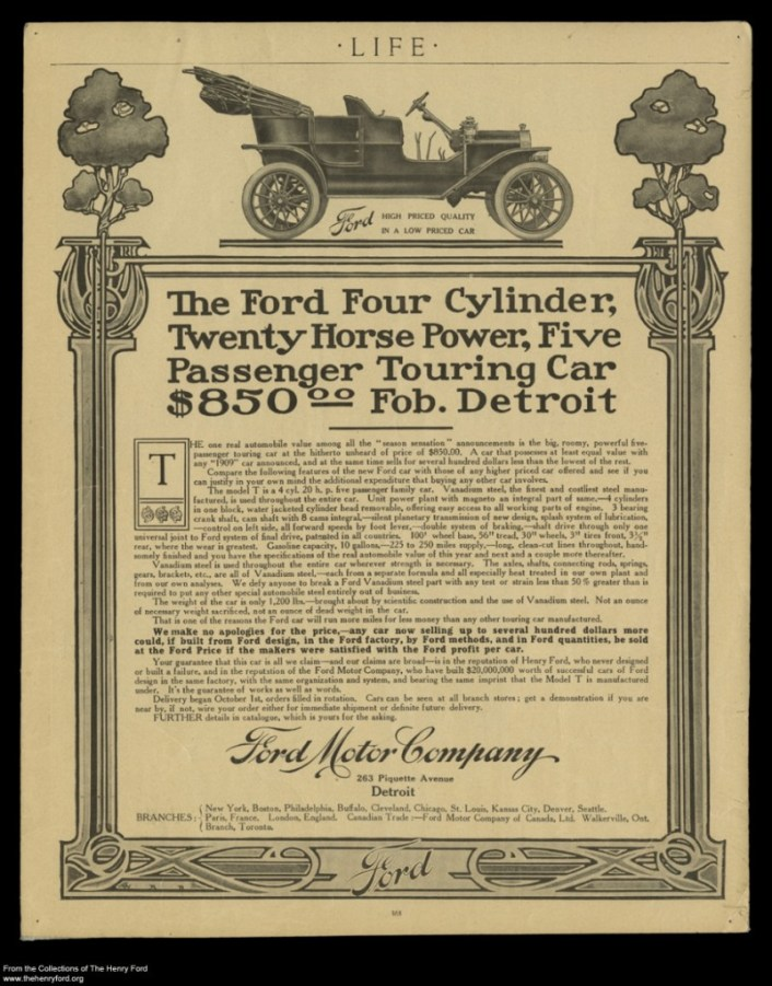 image of first Ford Model-T advertisement for undifferentiated marketing definition
