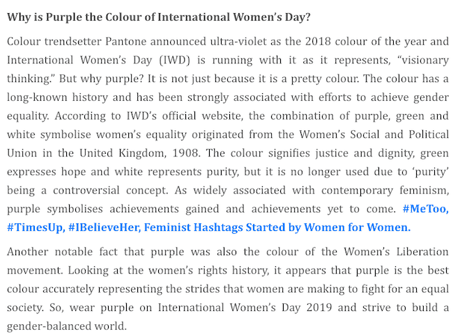 what color to wear on international women's day