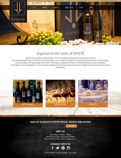 screenshot EFESTE winery website