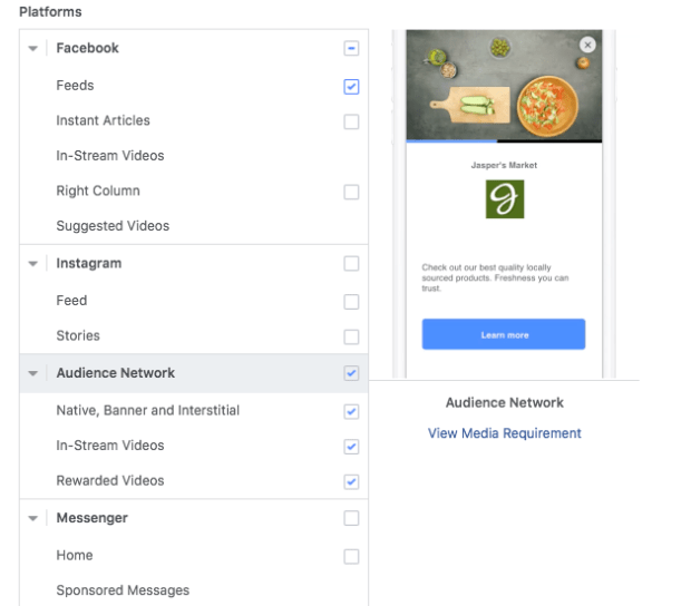 Audience Network Facebook Placement