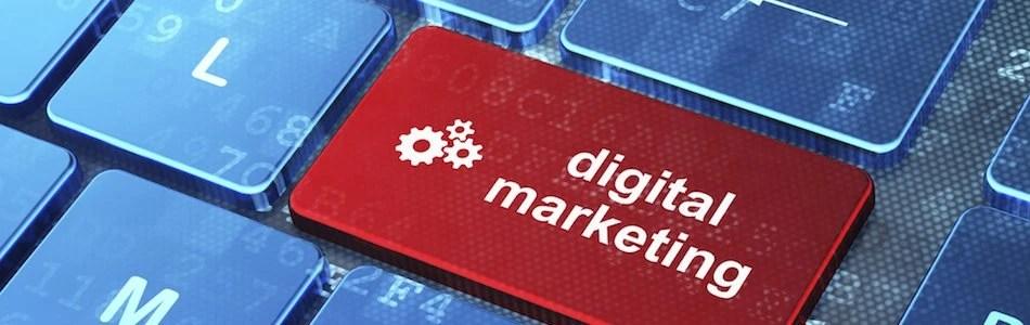 Gears and Digital Marketing on keyboard