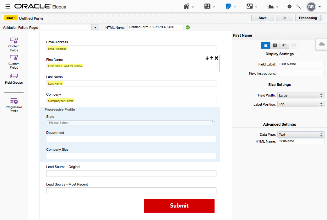 2. This second form shows smarter use of field merges, it includes progressive profiling and also hidden fields (The two Lead Source fields) and takes advantage of button changes i.e. you can add a .jpg image to your form to assist with more on-brand looking forms.