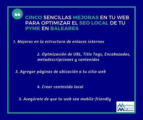 Imagen de Cinco sencillas mejoras en tu web para optimizar el SEO local de tu PYME en Baleares