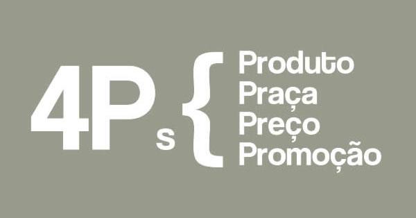 Os 4Ps do Marketing listados: produto, praça, preço, promoção.
