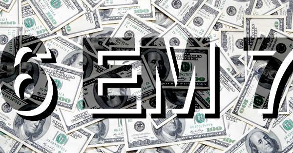 Notas de dólar ao fundo para ilustrar o conceito e explicar o que é 6 em 7.