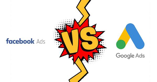 Logo do Facebook na esquerda e do Google na direita com o sinal de Versus no meio para inidicar se é melhor