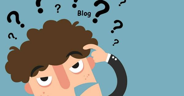 Ilustração de um personagem em dúvida se vale a pena ter um blog.