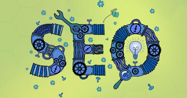 As letras SEO, ilustradas e compostas por engrenagens para ilustrar o artigo que ensina como fazer SEO.