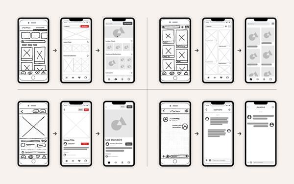 Diversas telas de celulares com wireframes desenhados, mostrando etapas da criação de um aplicativo.