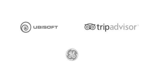 Grandes empresas que rodam na plataforma Kinsta - logo da Ubisoft, TripAdvisor e General Electric