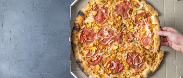 Pizza in pizza box