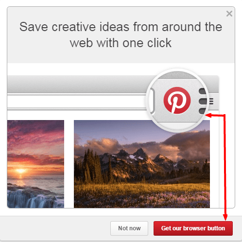 Browser button for Pinterest engagement