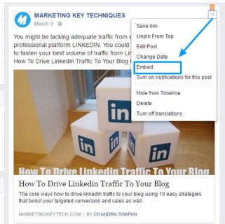 Facebook business page embed