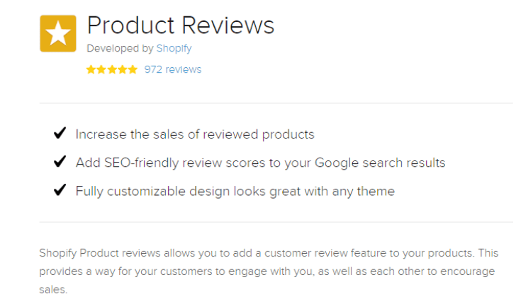 product review on Shopify store