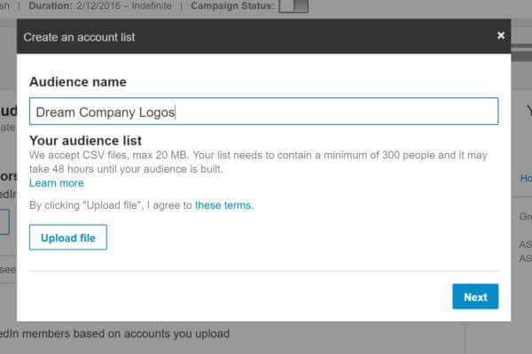 create an abm audience in linkedin ads