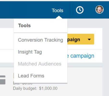 linkedin ads tools menu
