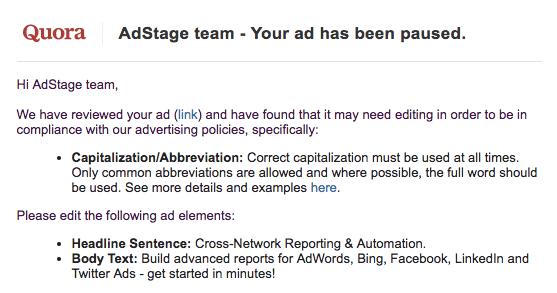 Quora email notice