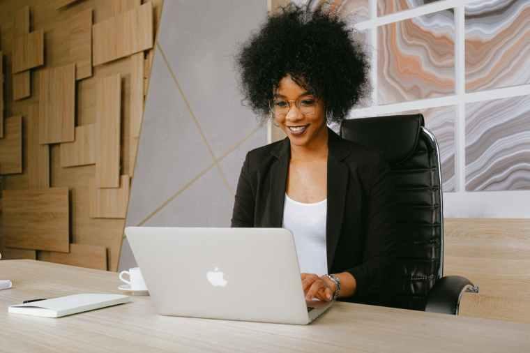 woman learning attending webinar