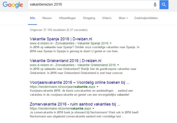 SERP Google voorbeeld Keyword