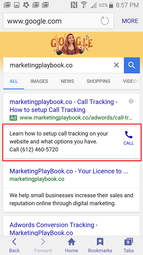 text ad with call extention
