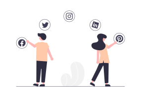 Social Media Marketing - Two people clicking on their favourite social media icons