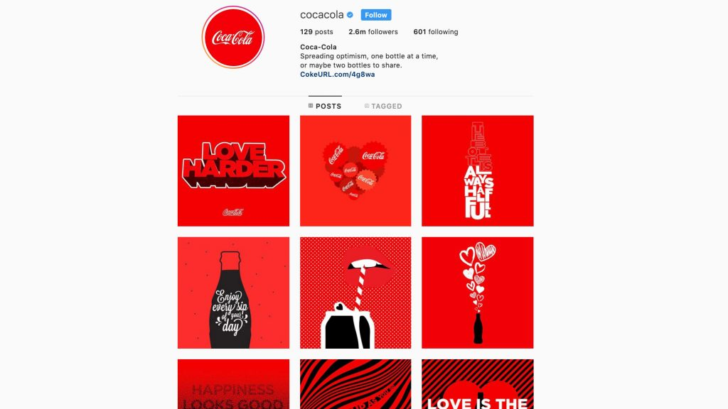 A screenshot of Coca-cola's all-red brand feed on Instagram