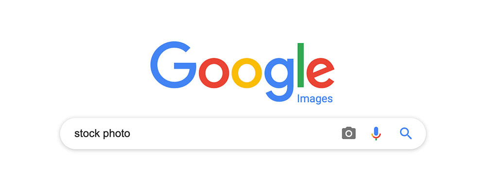 "Google images homepage with search queue ""stock photo"" typed"