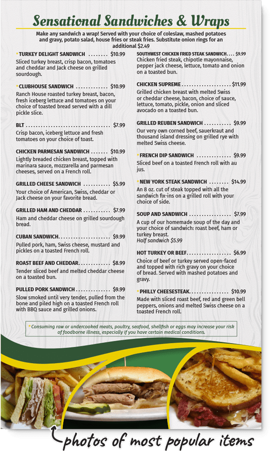 Sandwiches and wraps page from redesigned Ranch House menu