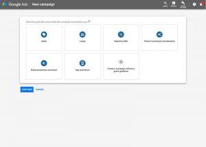 Screenshot of Google Ads campaign first step – setting a goal