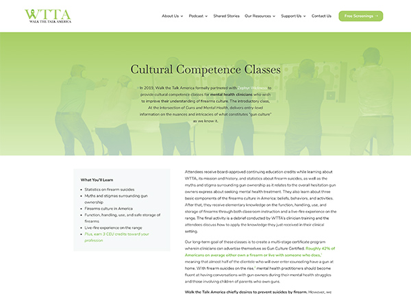 Screenshot of WTTA.org's Classes page. The banner has a photo of students at a firing range overlayed with a calming green duotone. Below is information on the classes.
