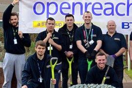 BT Openreach volunteers working in Seashell Trust's sensory garden