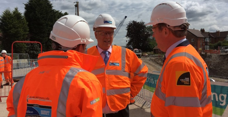 Chris Grayling on site of the A6 Manchester Airport Relief Road