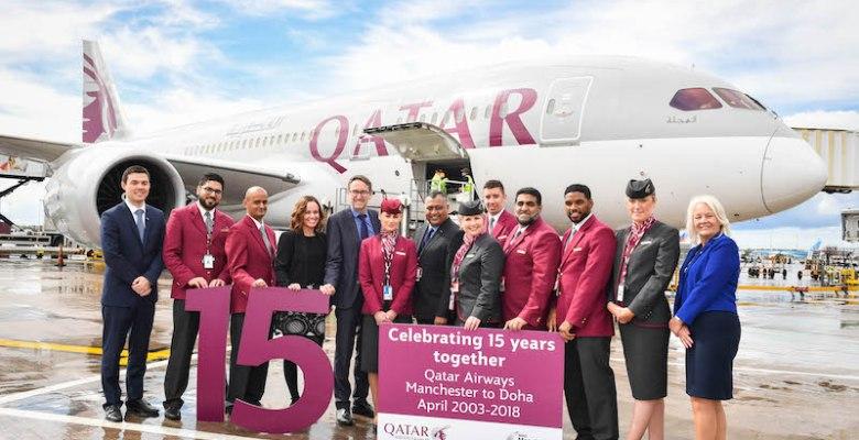 Qatar airways celebrates 15 years at Manchester Airport