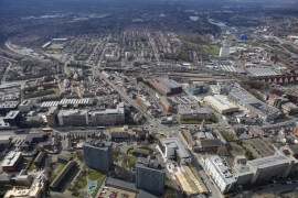 Arial view of Stockport town centre