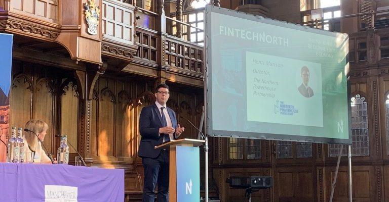 Henri Murison speaking at Fintech north