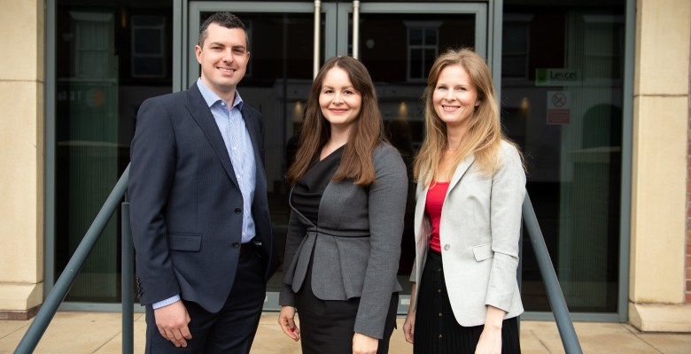 Stockport legal firm SAS Daniels welcomes (L to R) Matthew Canfield, Samantha Ikin and Carly Borne