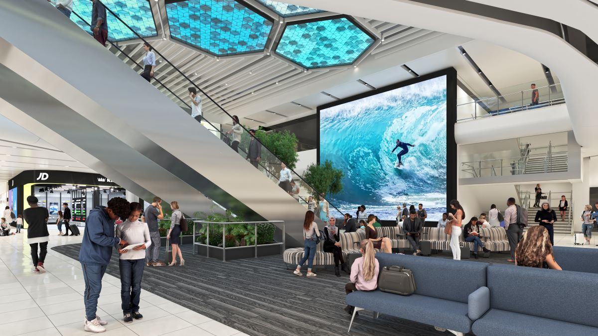 A new 83 square metre digital screen will take centre stage at Manchester Airport Terminal 2