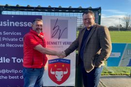 Bennett Verby's Adam Rhodes with Cheadle Town FC General Manager Mark Brennan