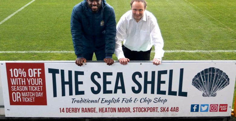 The Sea Shell Chip Shop's new advertising at Edgeley Park