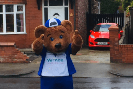 Vernon Bear delights Stockport residents while he gets his daily exercise