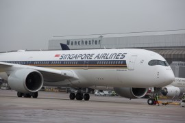 Singapore Airlines A350 at Manchester Airport