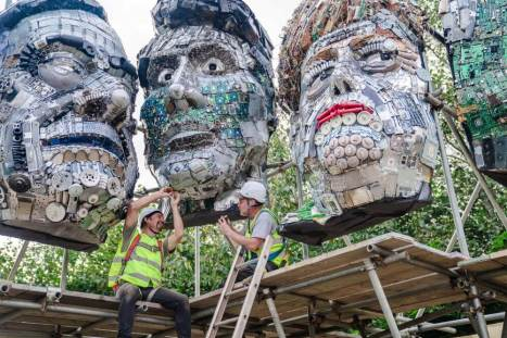 Mount Recyclemore being installed at the Eden Project